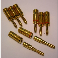 GPBP - Gold plated banana plugs (4 pairs red & black striped)